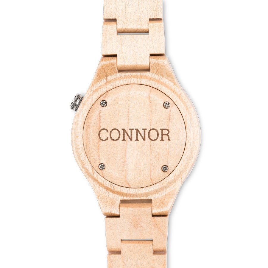 Drewniany zegarek z grawewrem