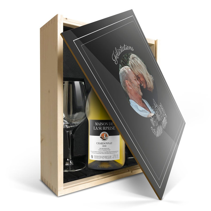 Coffret vin blanc avec 2 verres - Maison de la Surprise Chardonnay - Couvercle imprimé