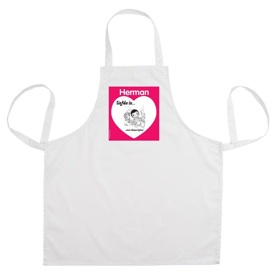 Liefde is... keukenschort bedrukken - Wit