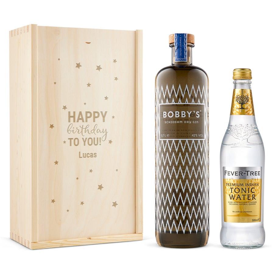 Gin & tonic-gavesæt – Bobby's Gin –indgraveret æske