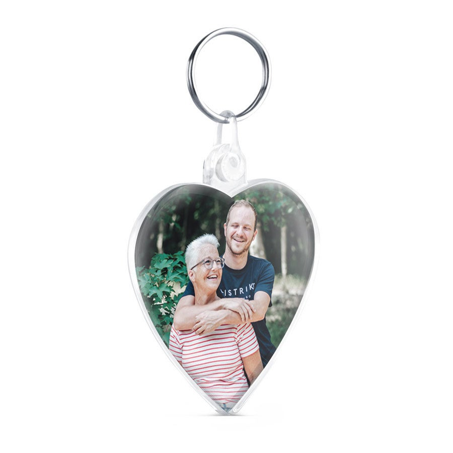 Personalised key ring - Heart - Double-sided