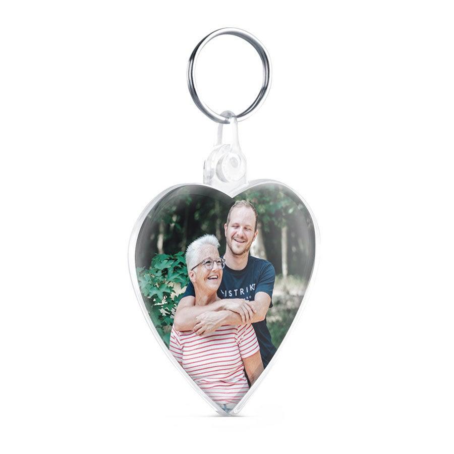 Szív kulcstartó - fényképpel - kétoldalas