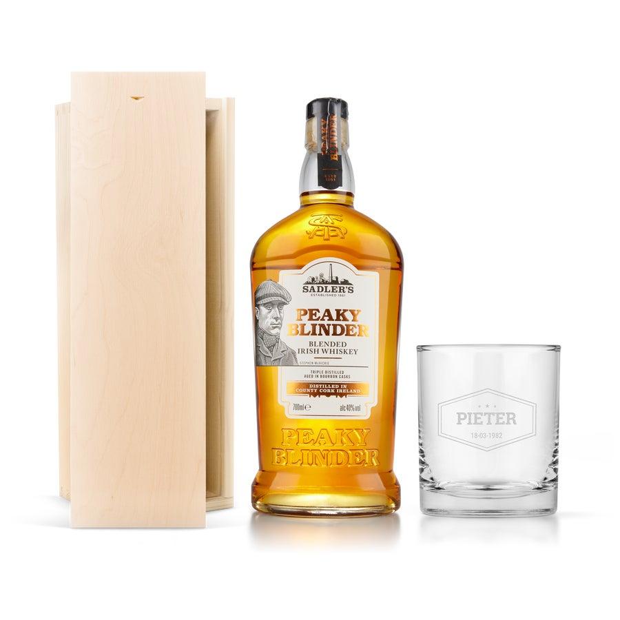 Set Peaky Blinders whisky - Con vaso grabado