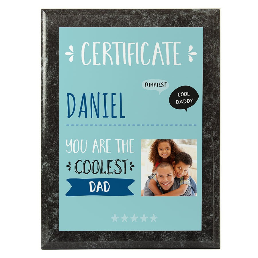 Best dad certificate - Marble look