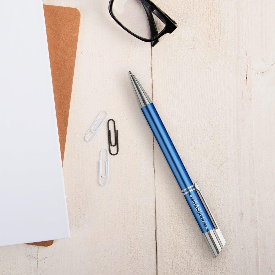 Viva-kynät - Tess - kaiverrettu kuulakärkikynä - Sininen (oikeakätinen)