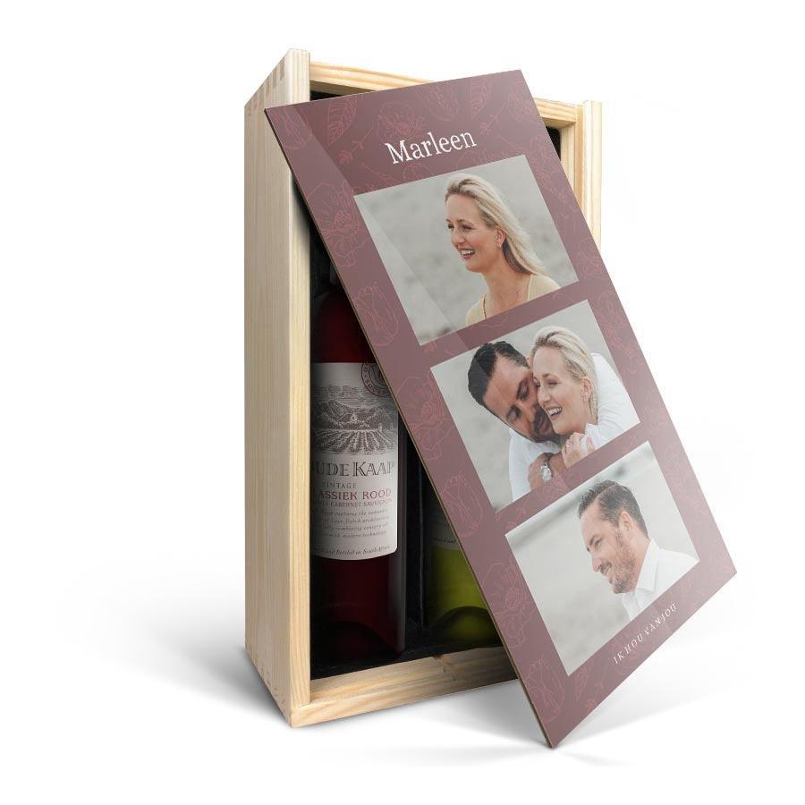 Wijnpakket in bedrukte kist - Oude Kaap - Wit en rood