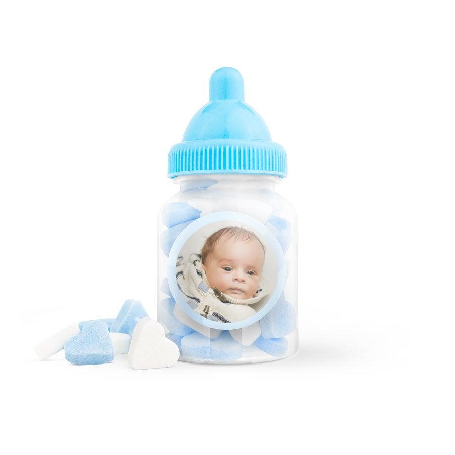 Suikerhartjes in babyflesje (blauw) - 40 stuks