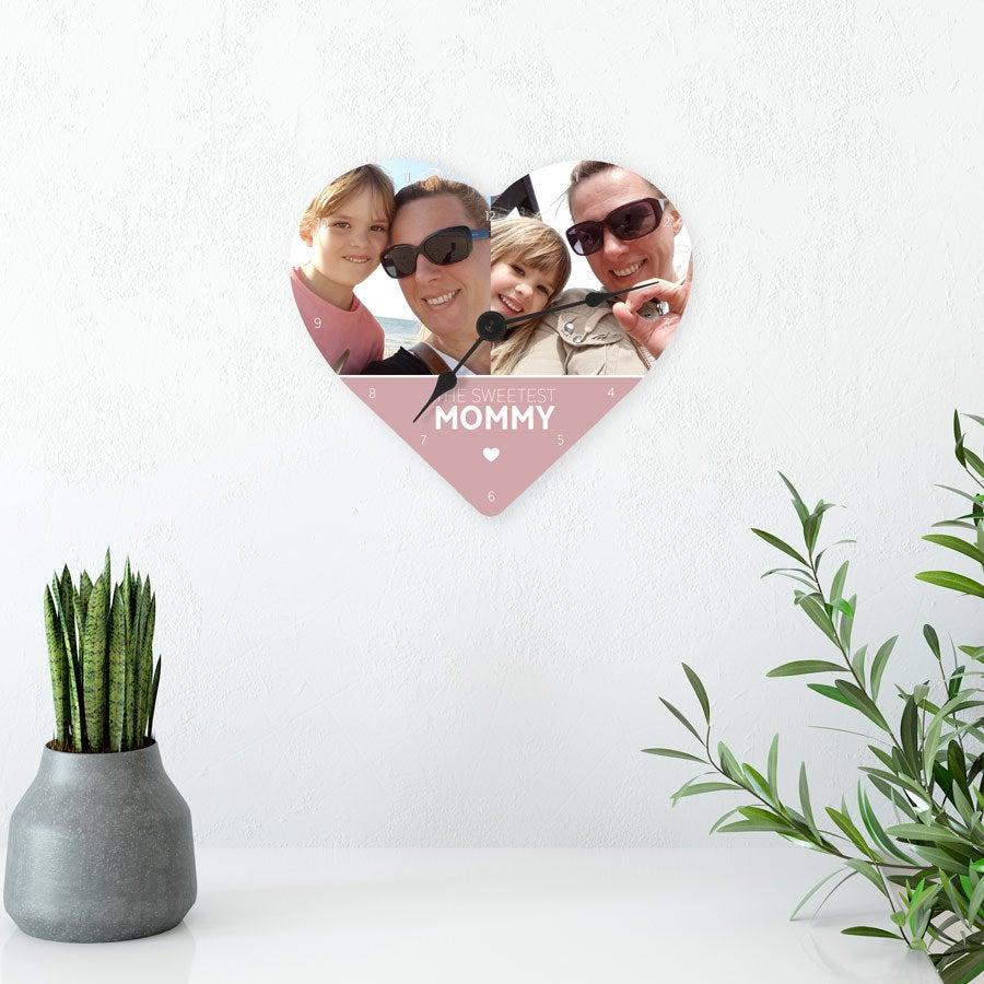 Relógio Dia das Mães - Coração (hardboard)