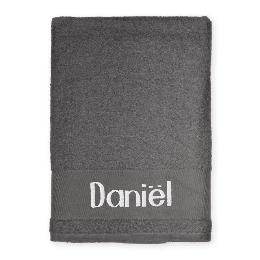 Embroidered beach towel - Hard coal