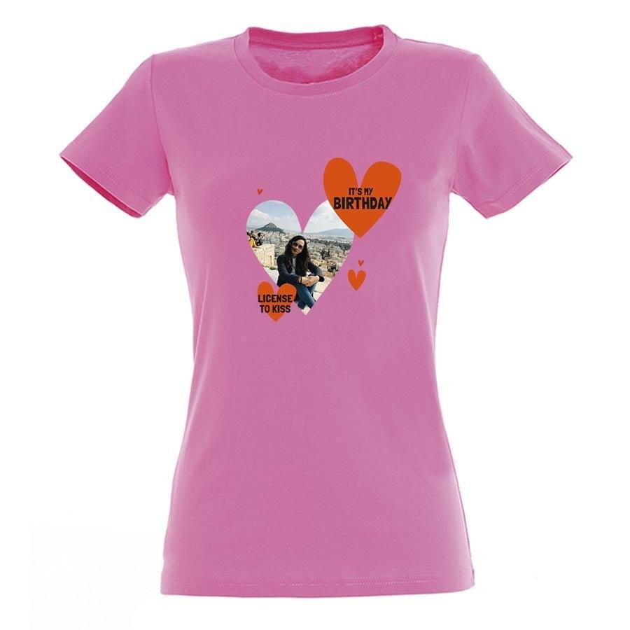 T-paita omalla painatuksella - Naiset - Pinkki - S