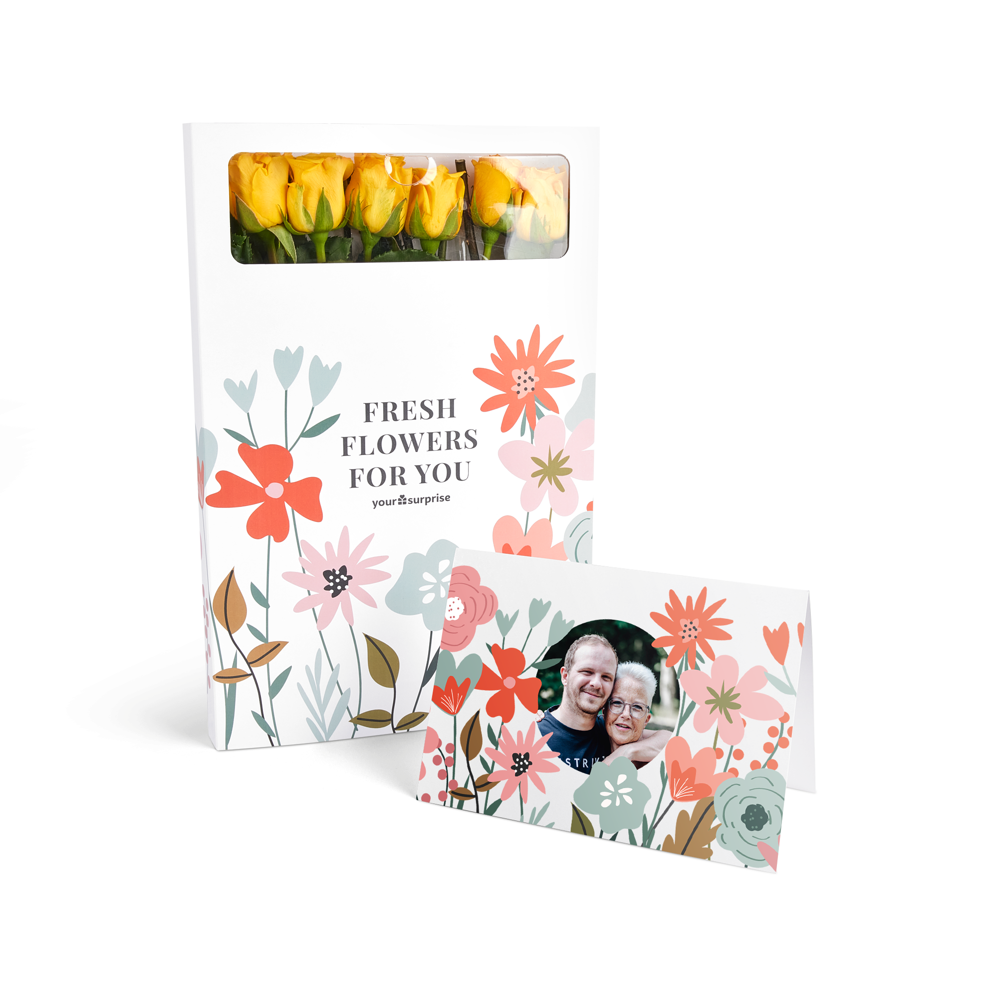 Brievenbusbloemen met persoonlijke kaart - Gele rozen