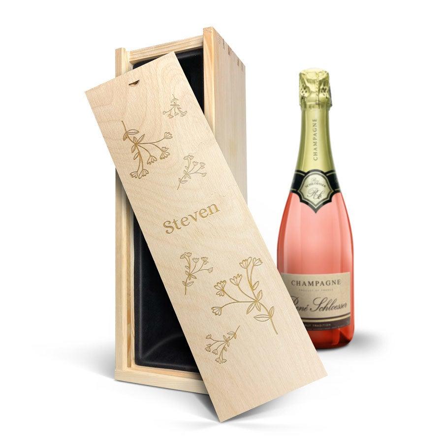 Champagne in gegraveerde kist - René Schloesser rosé (750ml)