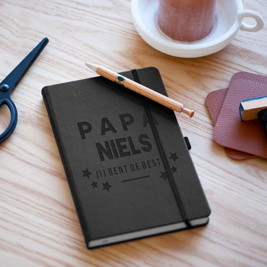 Vaderdag notitieboekje graveren - Zwart