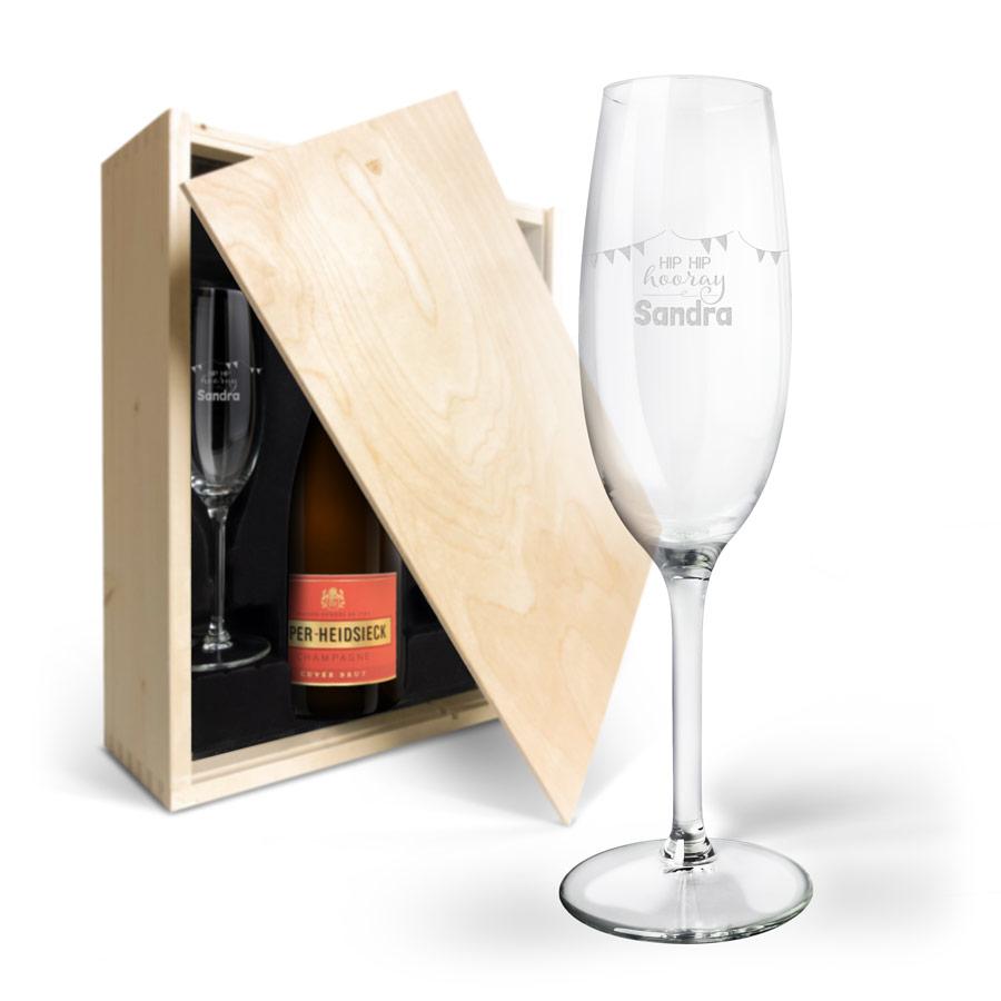 Készlet pezsgővel Piper - Brut vésett dobozban