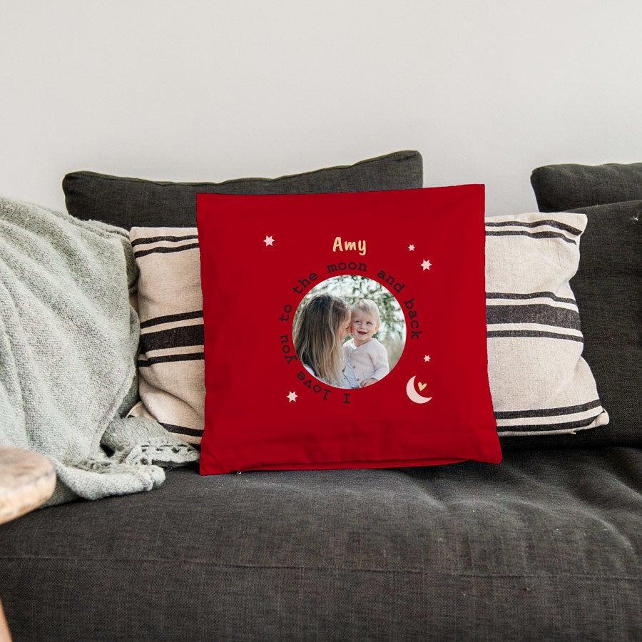 Tryckt kärlekskudde - 40x40cm - Röd - utan fyllning