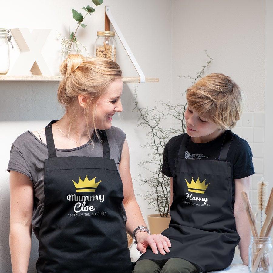 Sada kuchyňské zástěry - matka & dítě - černá