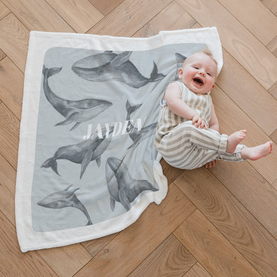 Babydecke mit Namen - weiß