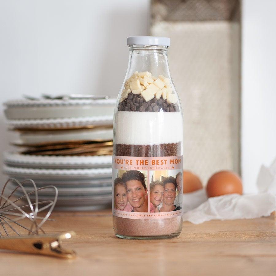 Kageblanding på flaske til mors dag – Brownies med to slags chokolade