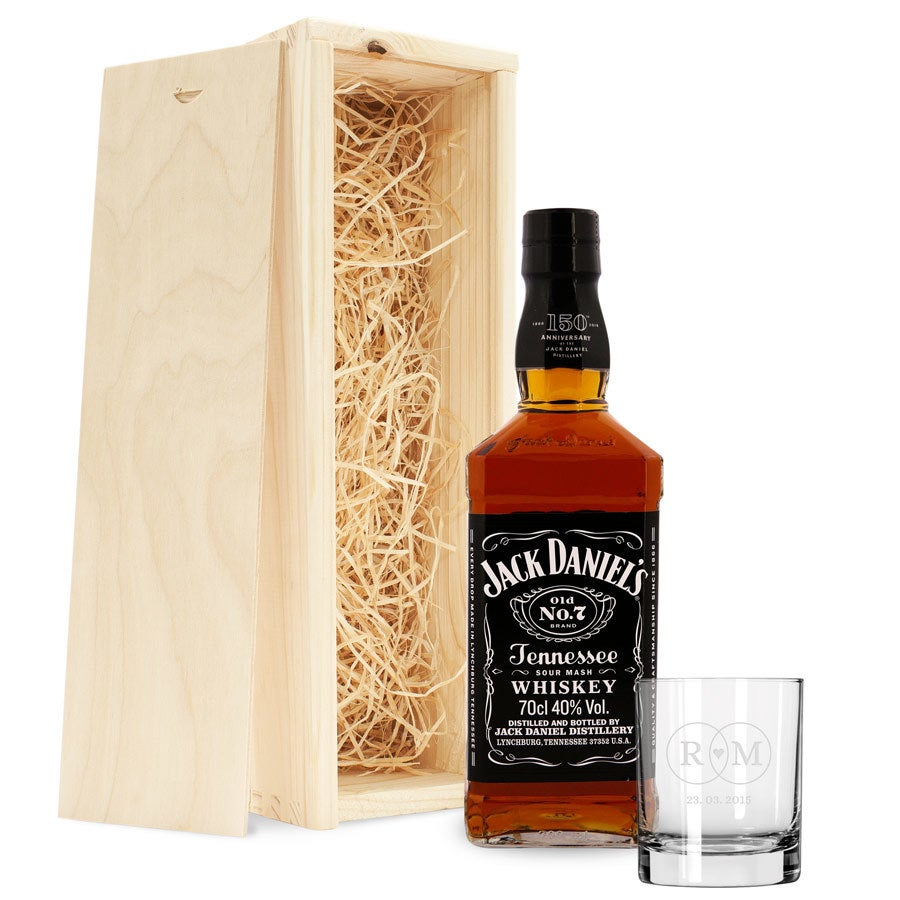 Whisky gift set - Jack Daniels - with engraved glass