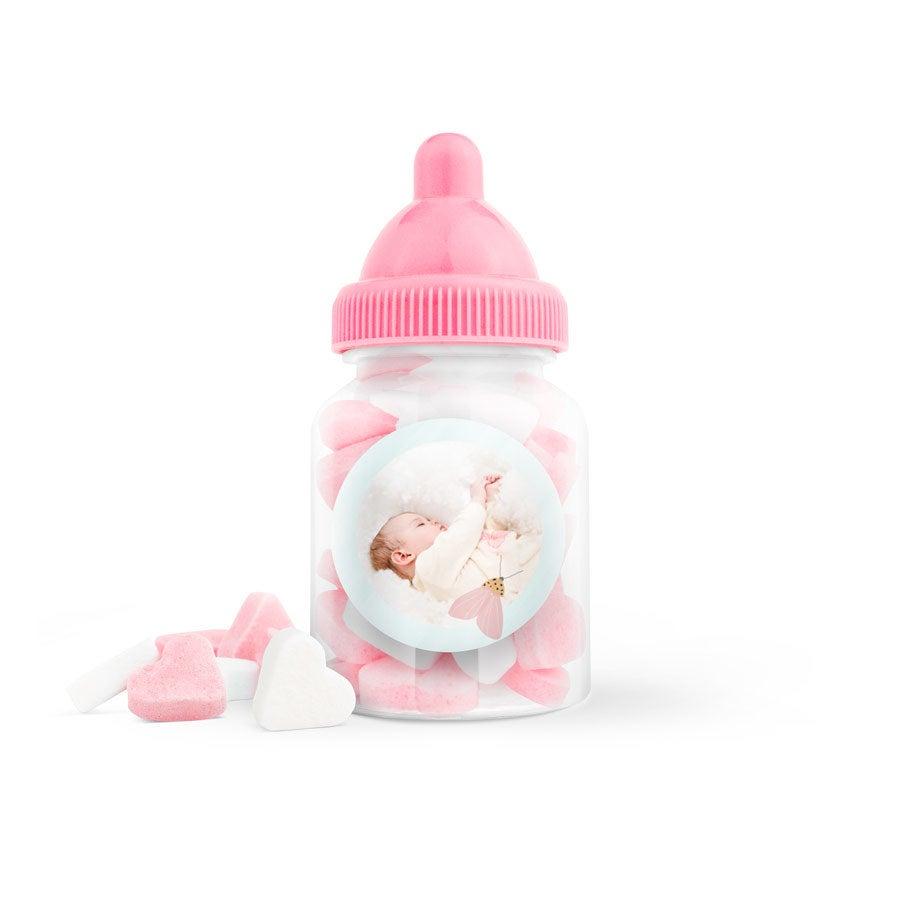Suikerhartjes in bedrukt babyflesje (roze) - 100 stuks