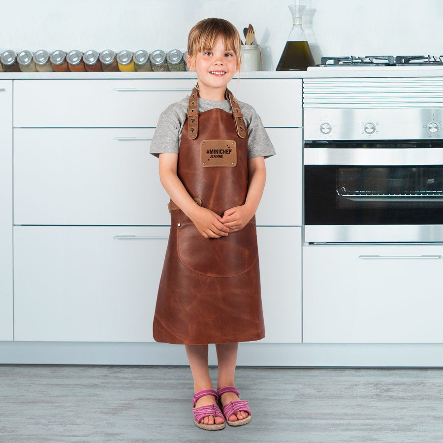 Tablier enfant cuir gravé - Marron
