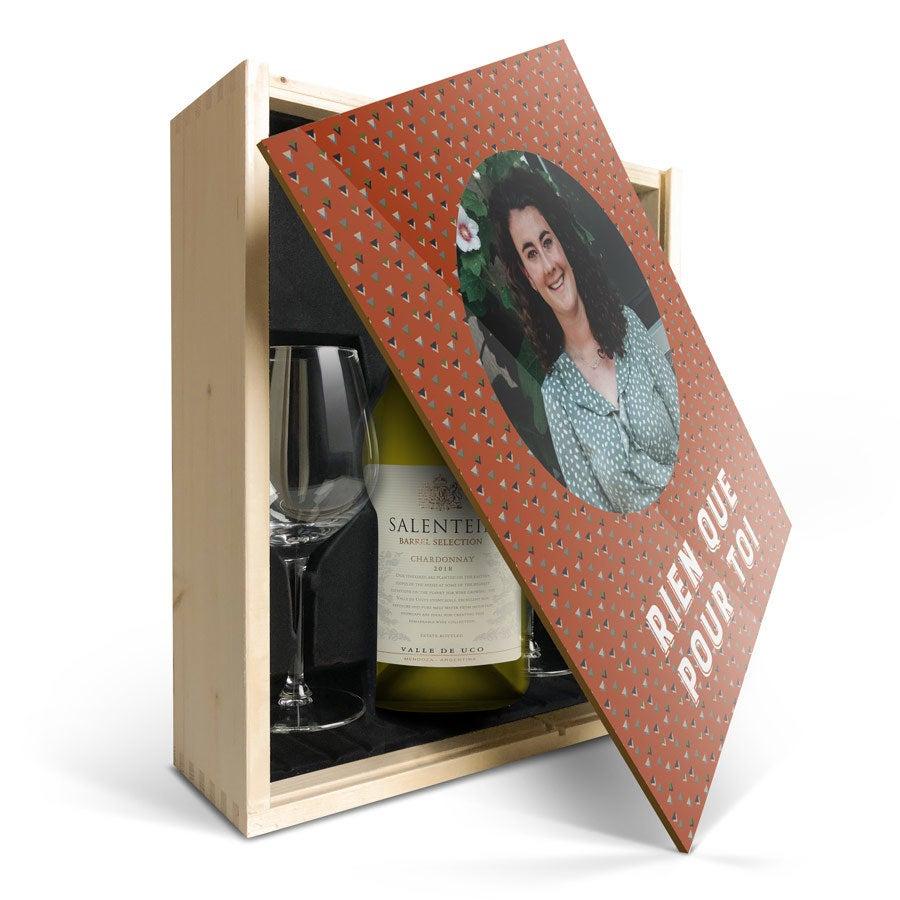 Coffret vin blanc avec 2 verres - Salentein Chardonnay - Couvercle imprimé