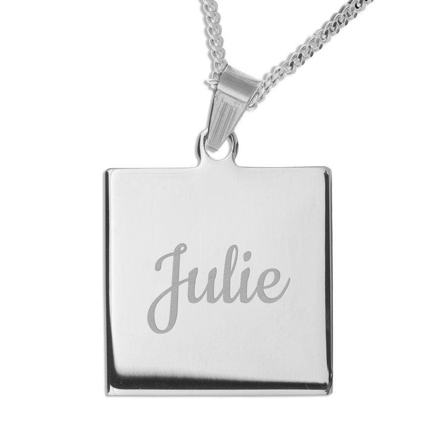 Name Pendant - Square - Rhodium