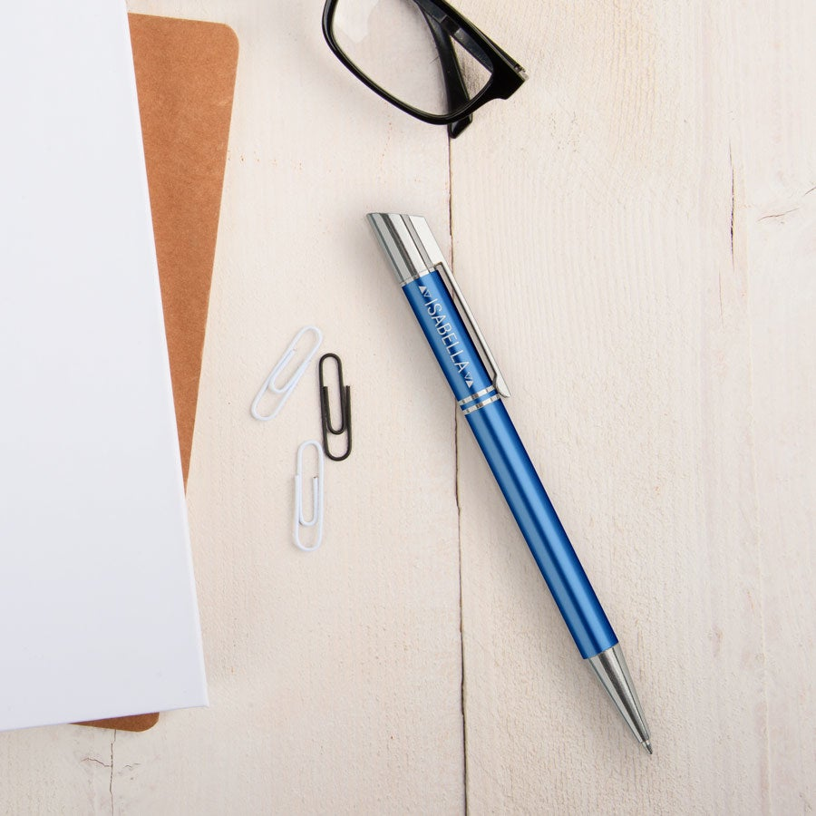 Viva-kynät - Tess - kaiverrettu kuulakärkikynä - Sininen (vasenkätinen)