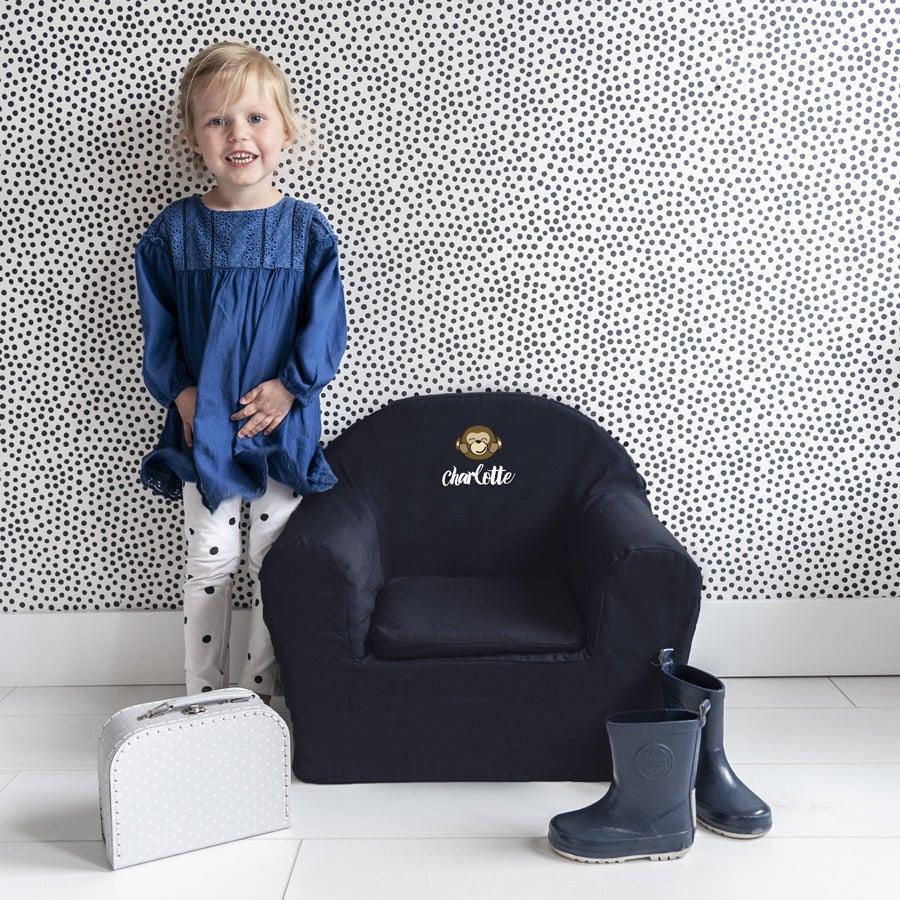Børnestol med navn – Blå