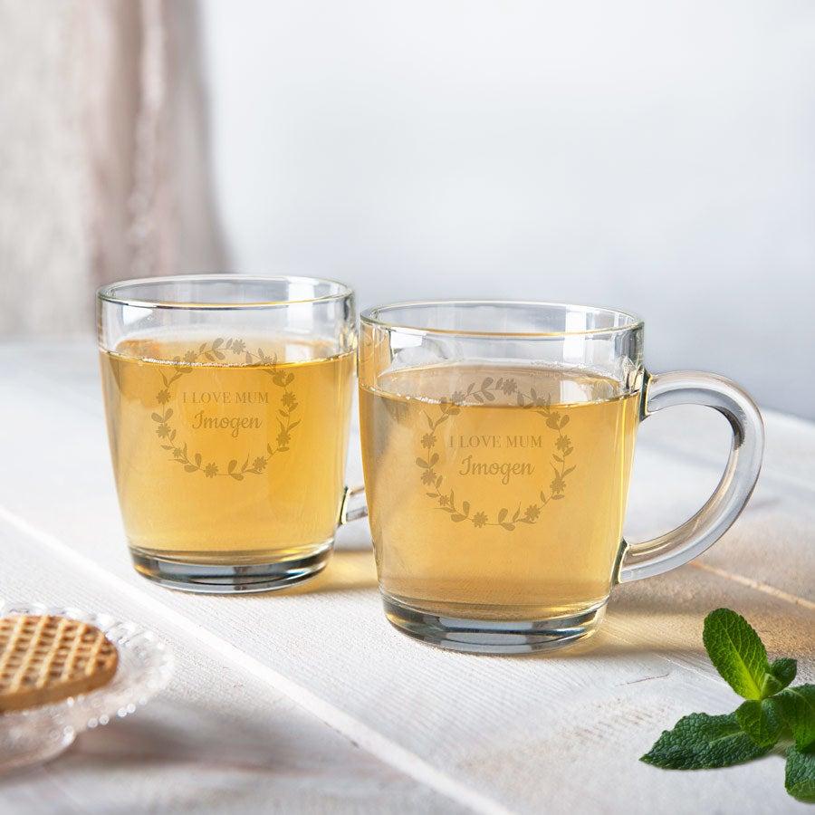 Mother's Day te glas - sæt af 2