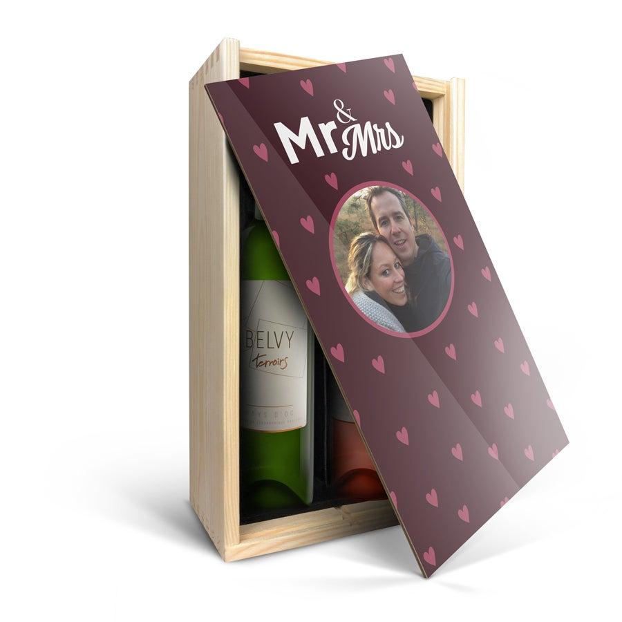 Wijnpakket in bedrukte kist - Belvy - Wit en rosé