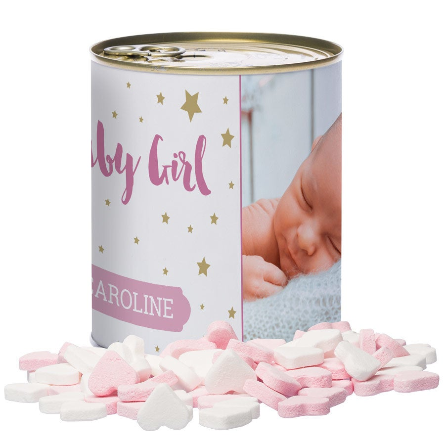 Tin of sweets – Baby Hearts - Girl