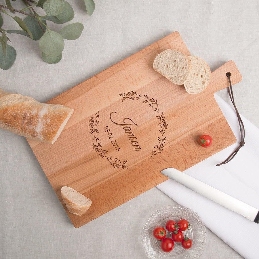 Houten broodplank graveren - Beuken - Rechthoek - Staand (L)
