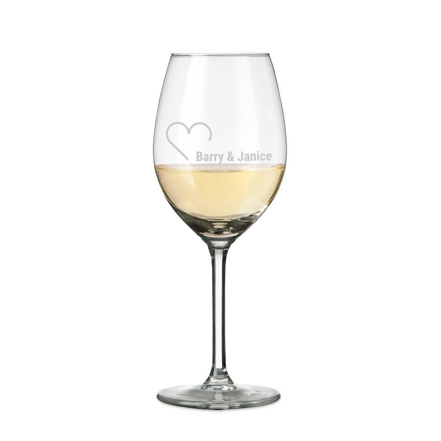 Hvitvinsglass med gravering