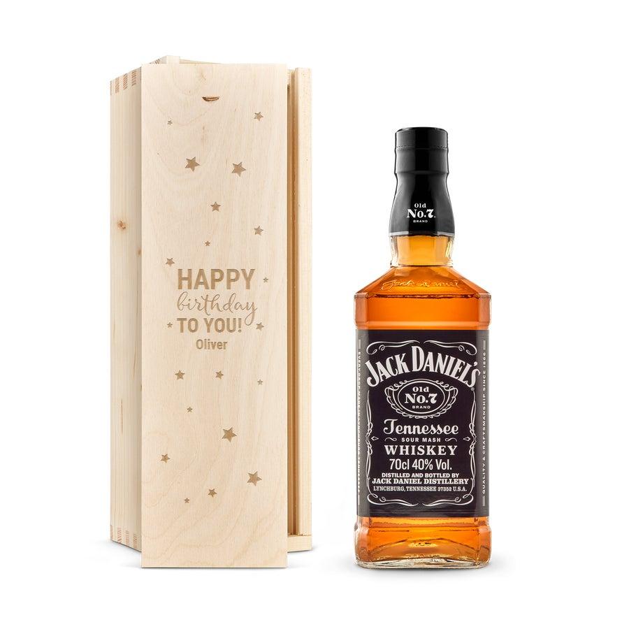 Whisky i indgraveret æske – Jack Daniels