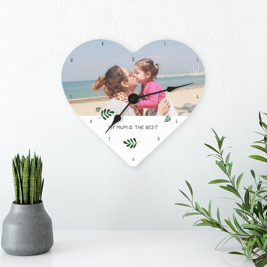 Mother's Day clock - Heart (hardboard) - Large