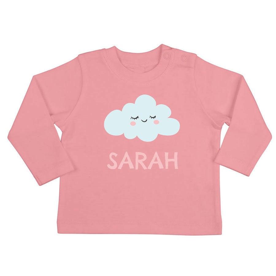 Babyskjorta med tryck - Långärmad - Ljusrosa - 50/56