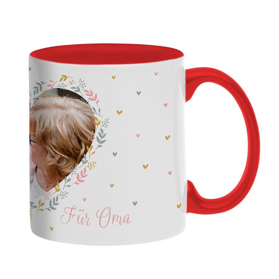 Individuellküchenzubehör - Tasse mit Foto Rot - Onlineshop YourSurprise