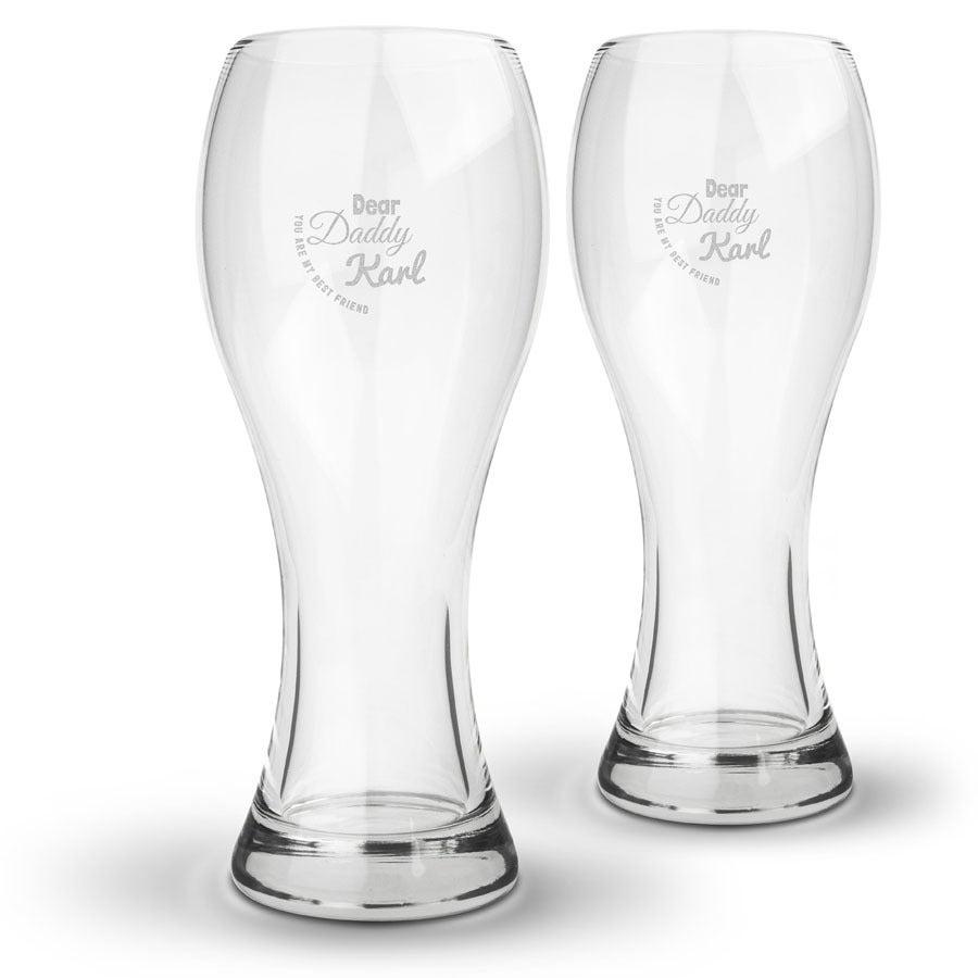 Olutlasi kaiverruksella - Isänpäivä - 2 lasia