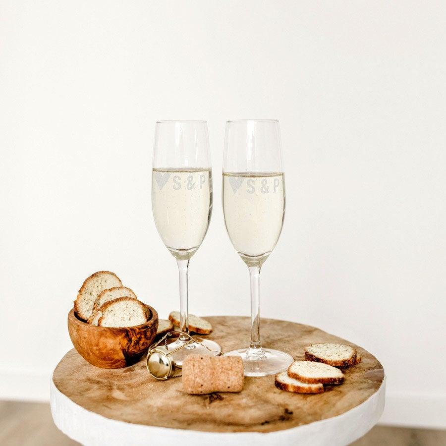 Champagneglas - Alla hjärtans dag (uppsättning 2)