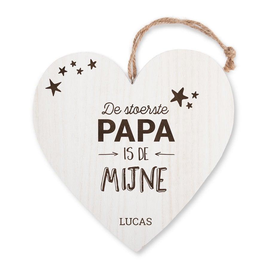 Vaderdag houten hart - met naam