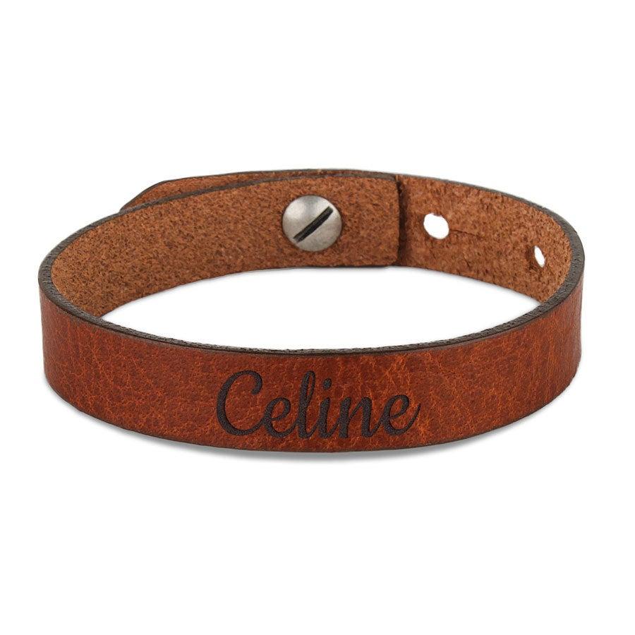 Bracelet prénom femme - cuir marron