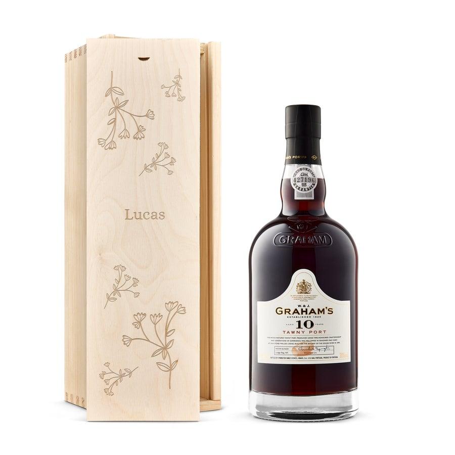 Whisky i indgraveret æske – Grahams 10 års Port