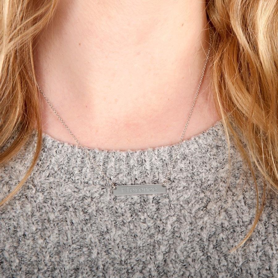 Collana argento con barretta con nome -Orizz.