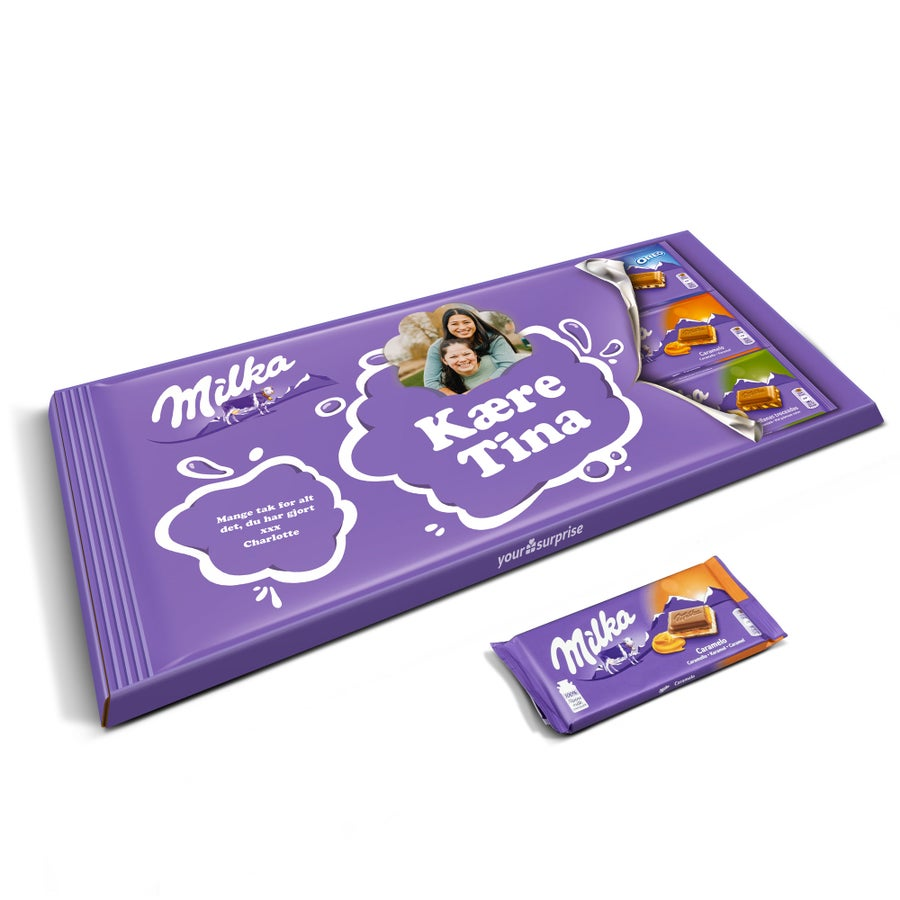 Gigantisk Milka chokoladebar med navn på