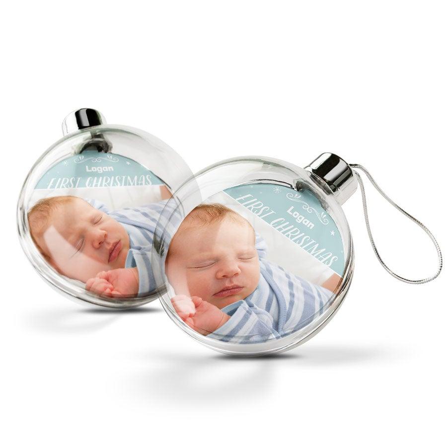 Personlige Babyns första julkula (2 st)