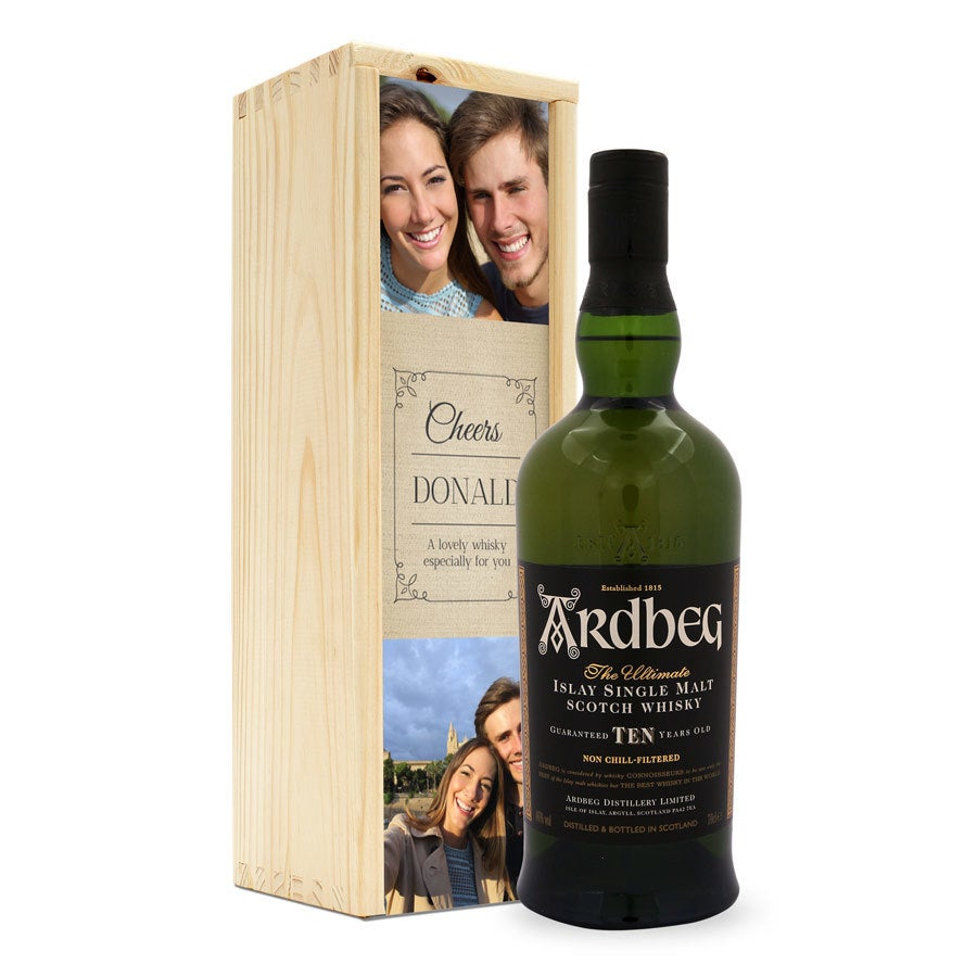 Whiskey in personalised case - Ardbeg 10 years