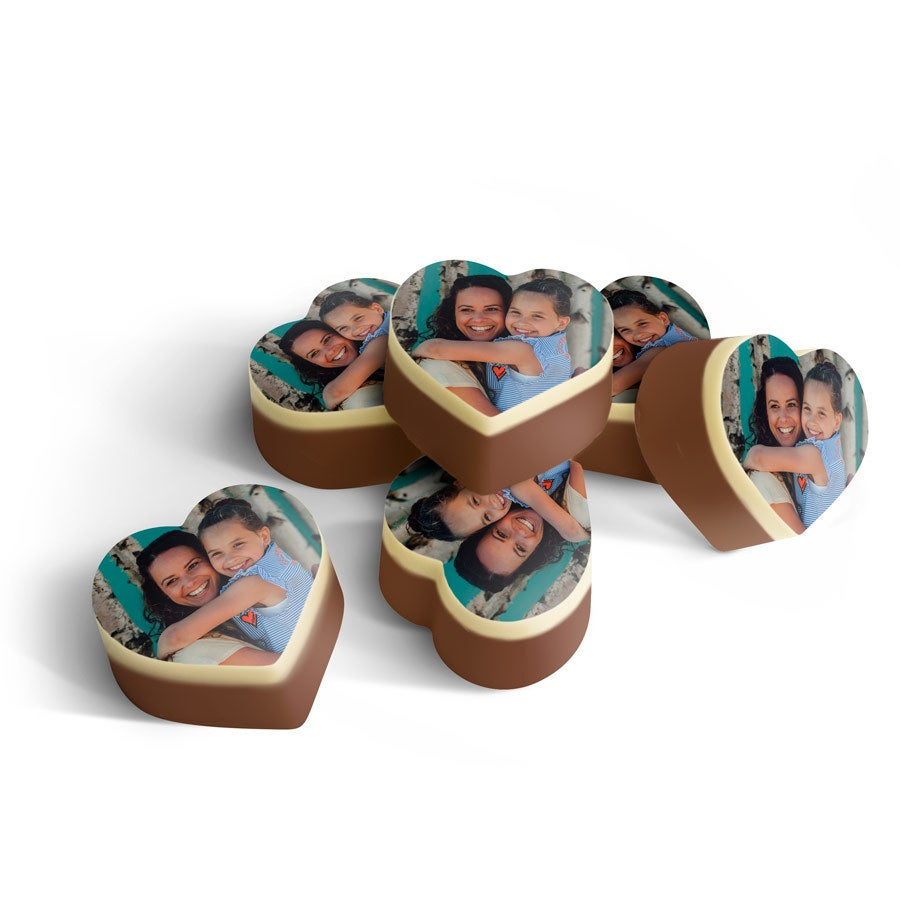 Personalised Chocolates - Heart-shaped - 15 pcs