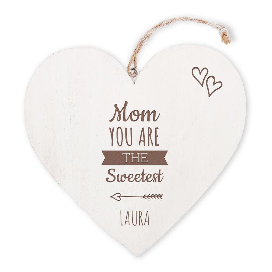 Dia das Mães - coração de madeira