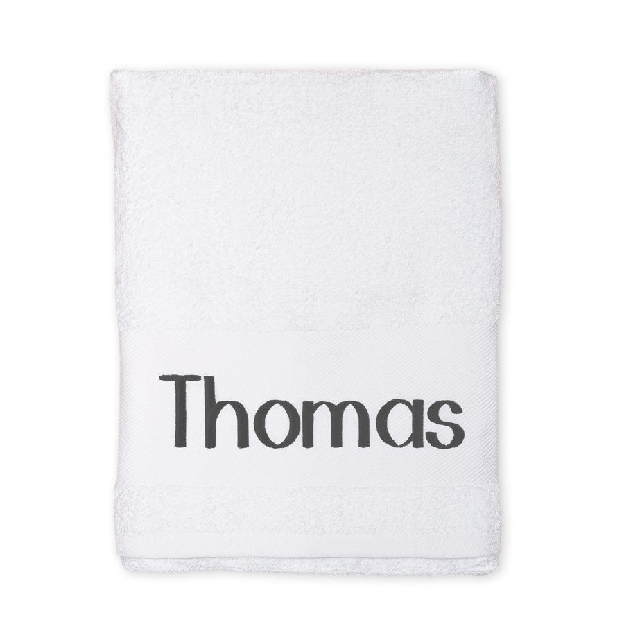 Embroidered towel - White